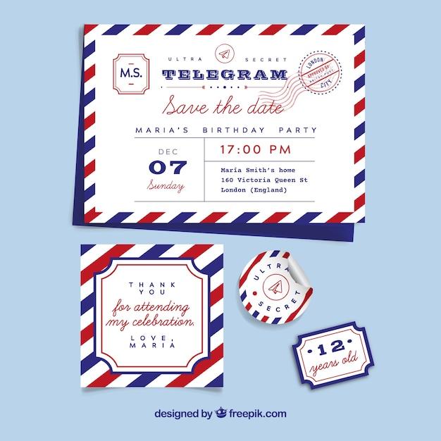 Jeu classique de timbres vintage Vecteur gratuit