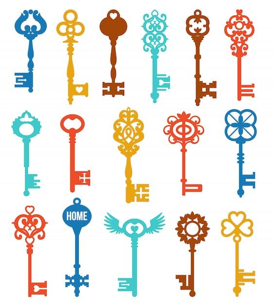 Jeu de clés colorées Vecteur gratuit