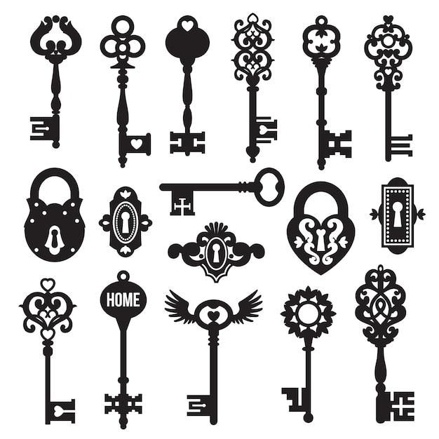 Jeu de clés et serrures noires Vecteur gratuit
