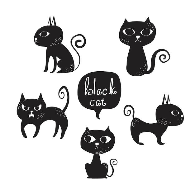 Jeu De Clipart De Chat Noir Vectorielles Vecteur Premium