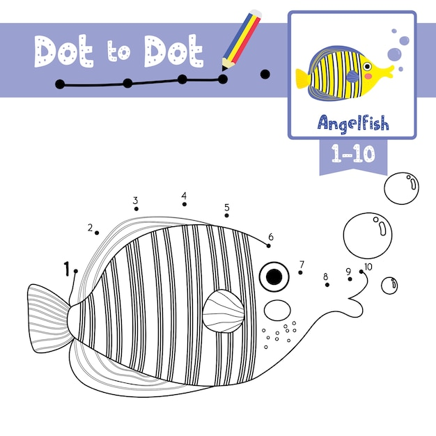 Jeu de coloriage et de coloriage angelfish dot to dot Vecteur Premium