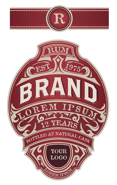 Jeu Complet D'étiquettes Pour L'emballage Des Boissons Alcoolisées. Gin, Whisky Ou Autres Produits Vecteur Premium