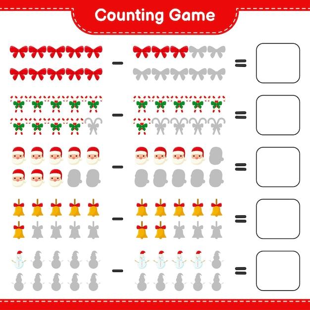 Jeu De Comptage, Compte Le Nombre De Décoration De Noël Et écris Le Résultat. Jeu éducatif Pour Enfants Vecteur Premium