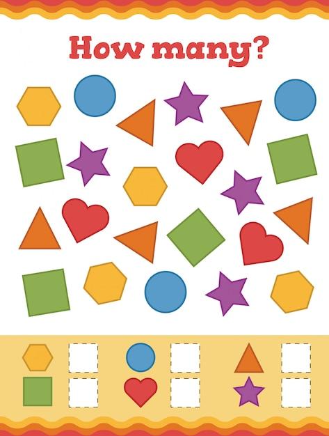 Jeu De Comptage Pour Les Enfants D'âge Préscolaire. Apprenez Les Formes Et Les Figures Géométriques. Vecteur Premium
