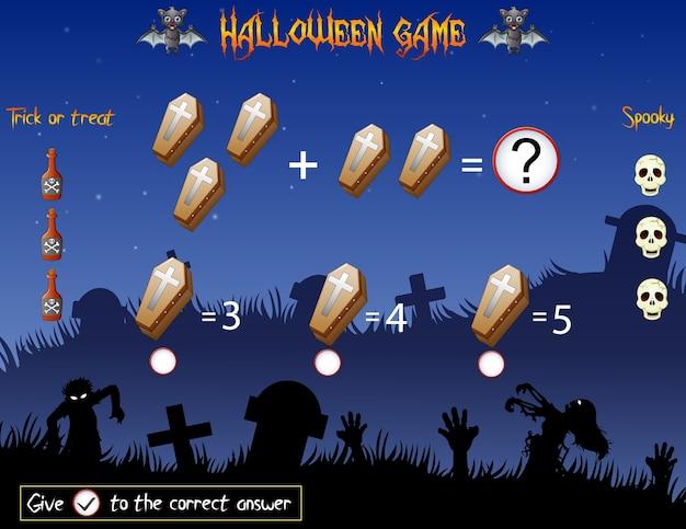 Jeu comptez les cercueils dans le thème halloween Vecteur Premium