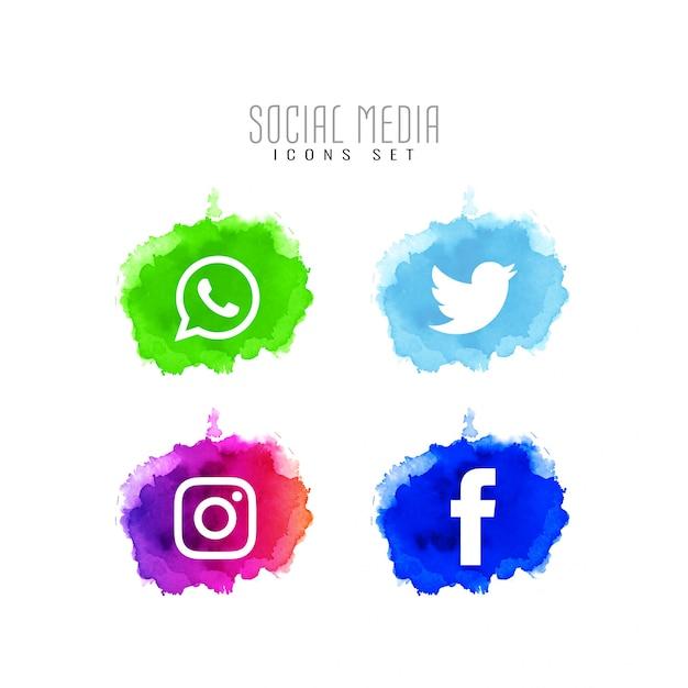 Jeu de conception abstraite d'icônes de médias sociaux décoratifs Vecteur gratuit