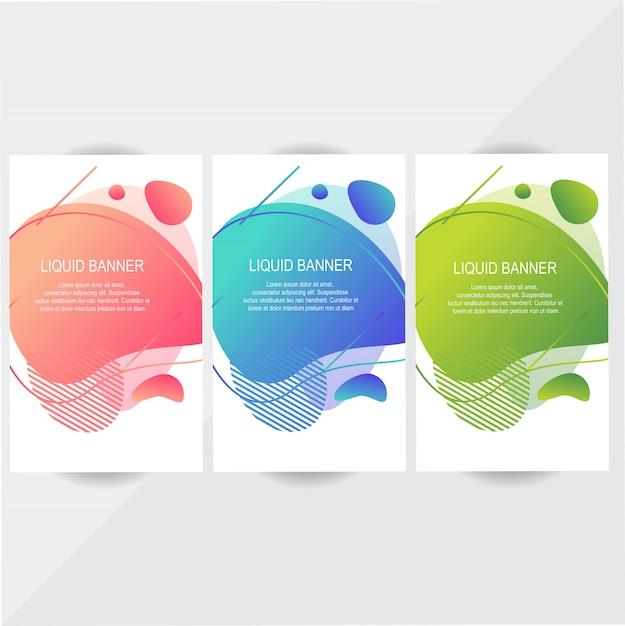 Jeu de conception de bannière liquide coloré Vecteur Premium