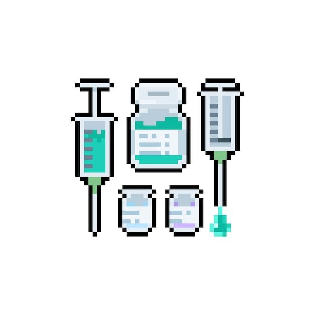 Jeu De Conception D'icônes De Vaccin Pixel Art. Vecteur Premium