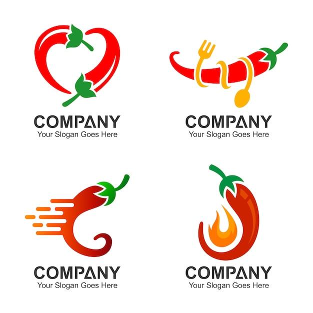 Jeu de conception de logo chili, jeu d'icônes de piment Vecteur Premium