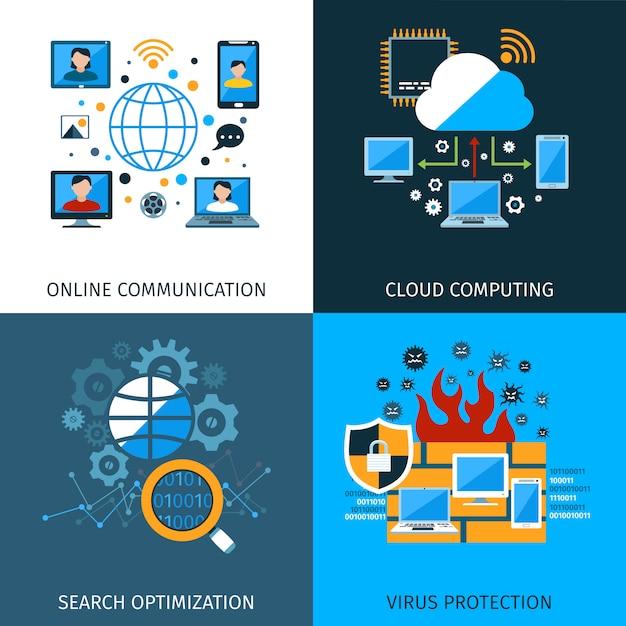 Jeu de concepts de sécurité réseau Vecteur gratuit