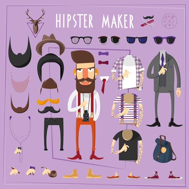 Jeu de constructeurs créatifs hipster master Vecteur gratuit