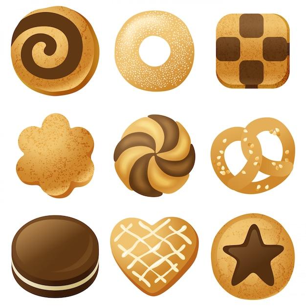 Jeu De Cookies Vecteur Premium