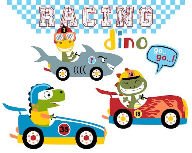 Jeu de course de voiture de dessin animé de dinos vectorielles Vecteur Premium
