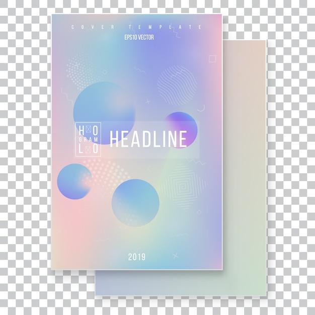 Jeu de couverture holographique moderne futuriste. style rétro années 90, années 80. Vecteur Premium