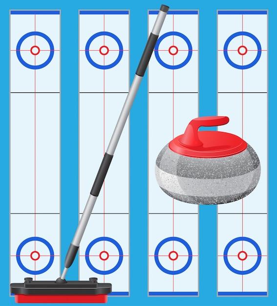 Jeu de curling Vecteur Premium
