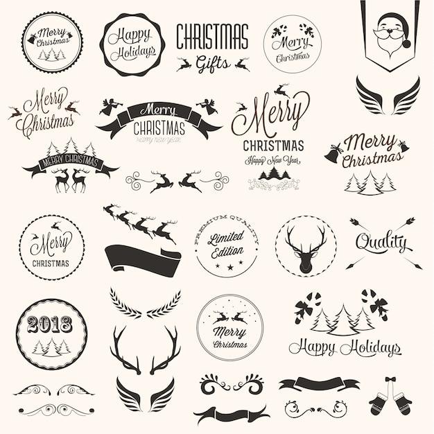 Jeu d'étiquettes de joyeux Noël Vecteur gratuit