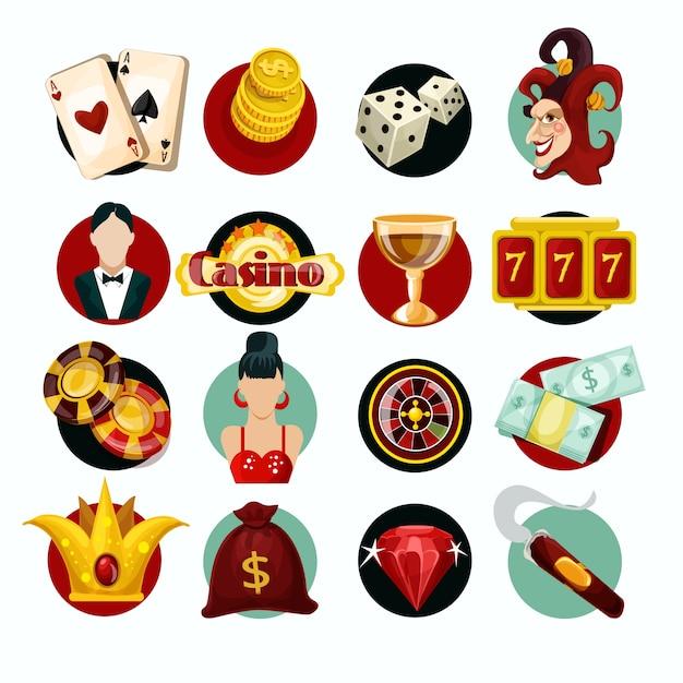 Jeu d'icônes de casino Vecteur gratuit