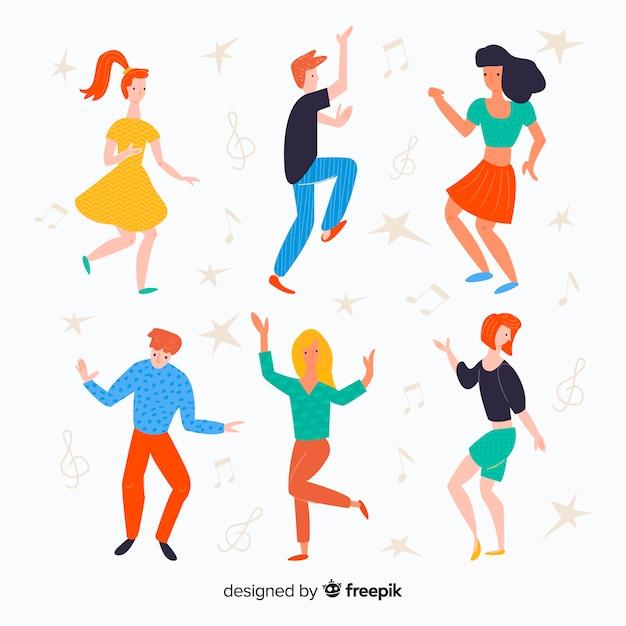 Jeu de danse personnes dessinées à la main Vecteur gratuit