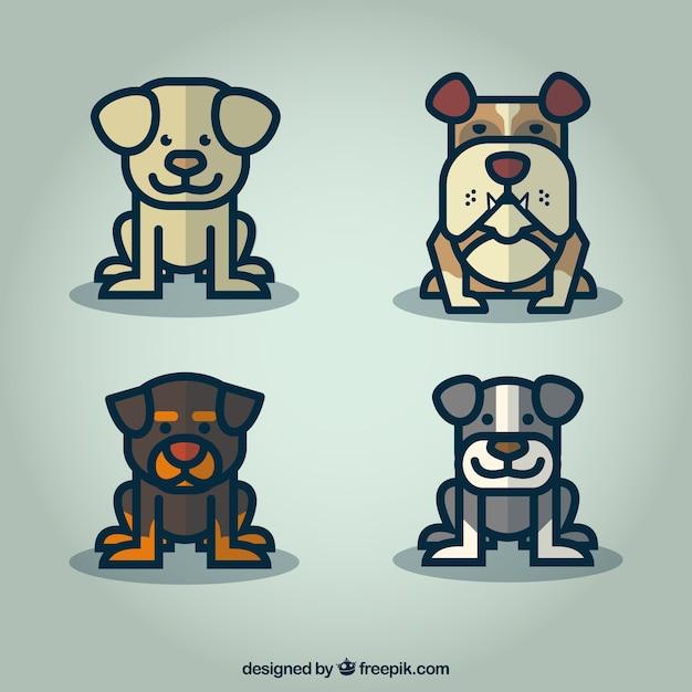 Jeu de dessin anim chien mignon t l charger des vecteurs premium - Dessin chien mignon ...