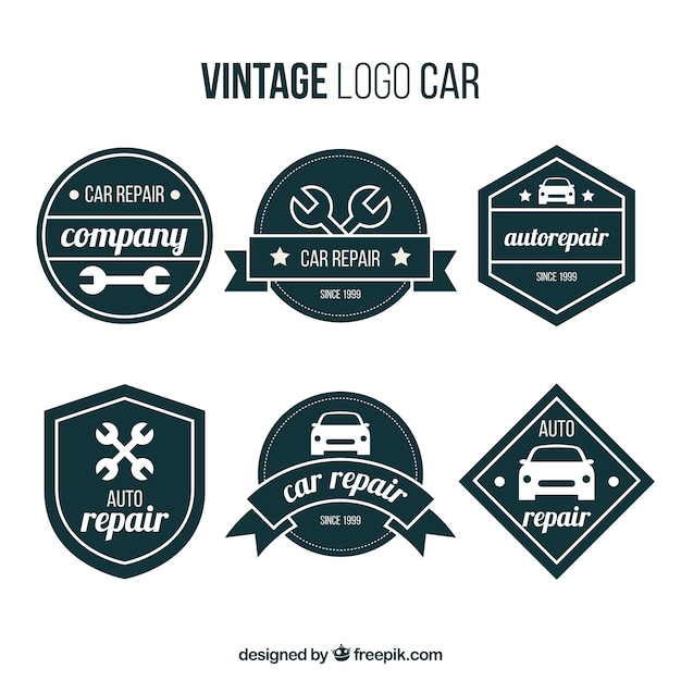 jeu de logos de voiture r tro avec des formes g om triques t l charger des vecteurs gratuitement. Black Bedroom Furniture Sets. Home Design Ideas