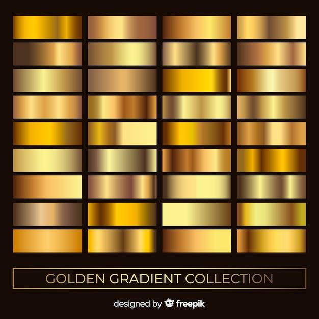 Jeu de dégradé de texture métallique doré Vecteur gratuit