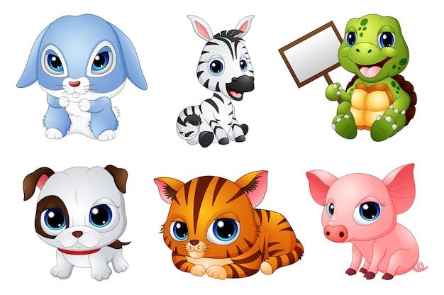Jeu de dessin animé cute animals Vecteur Premium