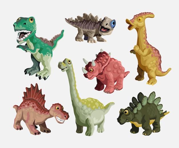 Jeu De Dessin Animé De Dinosaure. Collection De Jouets En Plastique Pour Enfants Dinosaures Mignons. Prédateurs Et Herbivores Colorés. Illustration Isolé Sur Fond Blanc. Vecteur Premium