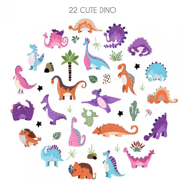 Jeu de dessin animé de dinosaures dans un style scandinave Vecteur Premium