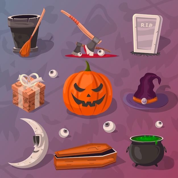 Jeu de dessin animé halloween party Vecteur Premium