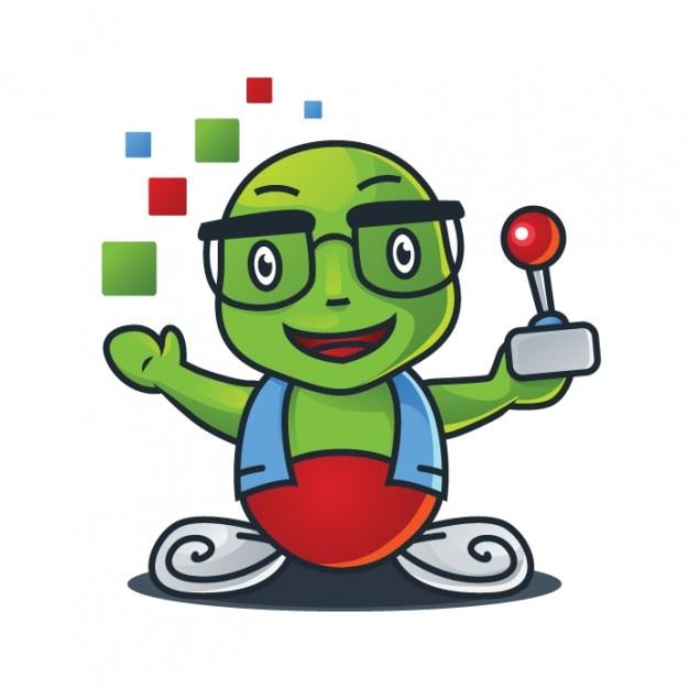 Jeu de dessin animé mascotte avec contrôleur Vecteur gratuit