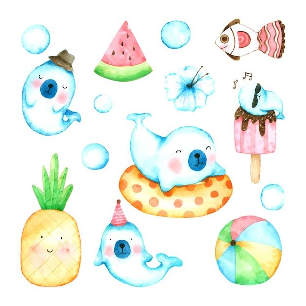 Jeu De Dessin Animé De Phoque Aquarelle Dessinée à La Main Pour Les Enfants Vecteur Premium