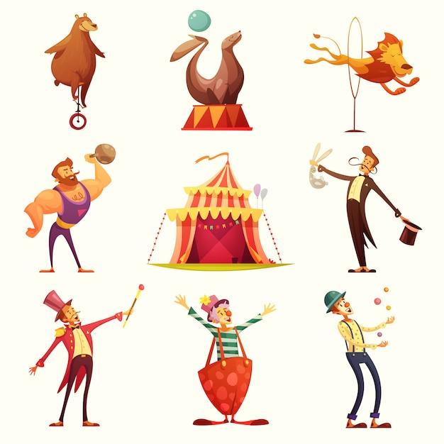 Jeu de dessin animé rétro icônes de cirque Vecteur gratuit