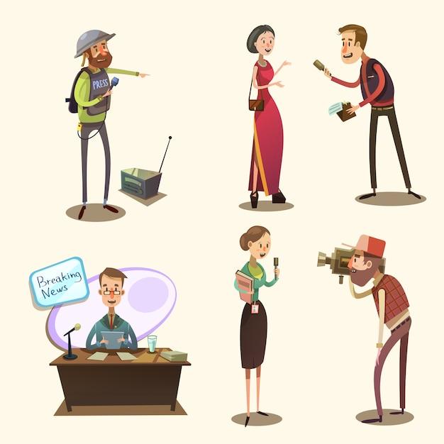 Jeu de dessin animé rétro journaliste Vecteur gratuit
