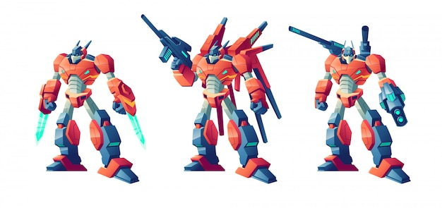 Jeu De Dessin Animé De Robots De Bataille Transformateur Vecteur gratuit