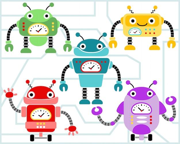 Jeu de dessin animé de robots vectorielles Vecteur Premium