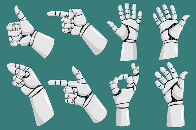 Jeu de dessin animé de vecteur de mains robot isolé sur fond blanc. Vecteur Premium