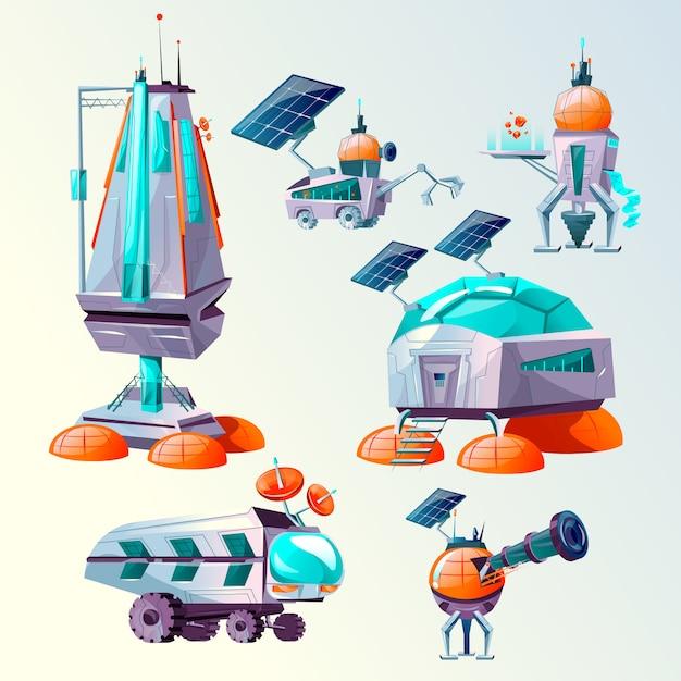 Jeu de dessins animés de colonisation de la planète Vecteur gratuit