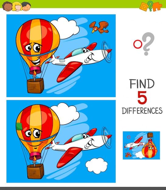 Jeu de différences avec avion et ballon Vecteur Premium