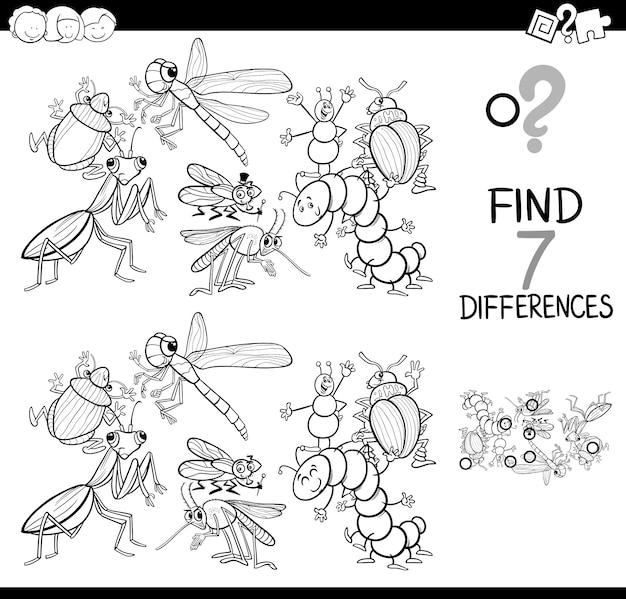 Jeu De Différences Avec Les Insectes Livre De Coloriage Vecteur Premium