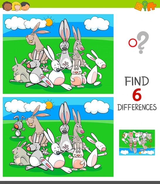 Jeu de différences avec des personnages animaliers de lapins Vecteur Premium