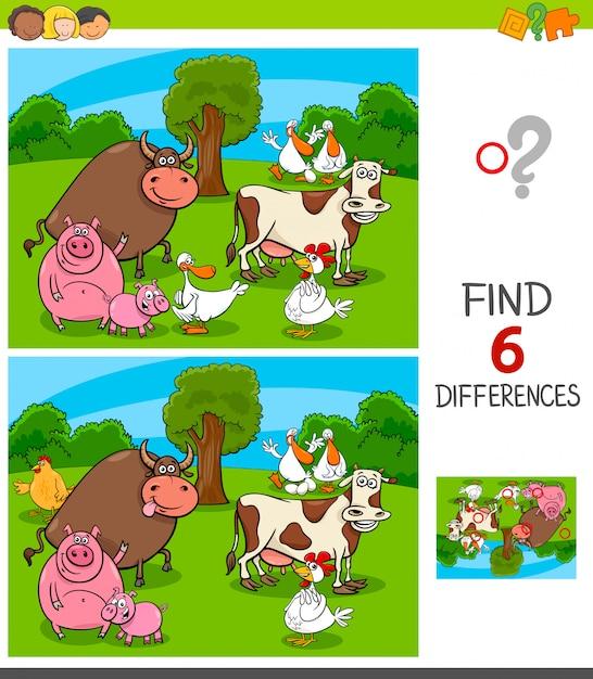 Jeu de différences avec des personnages d'animaux de ferme Vecteur Premium