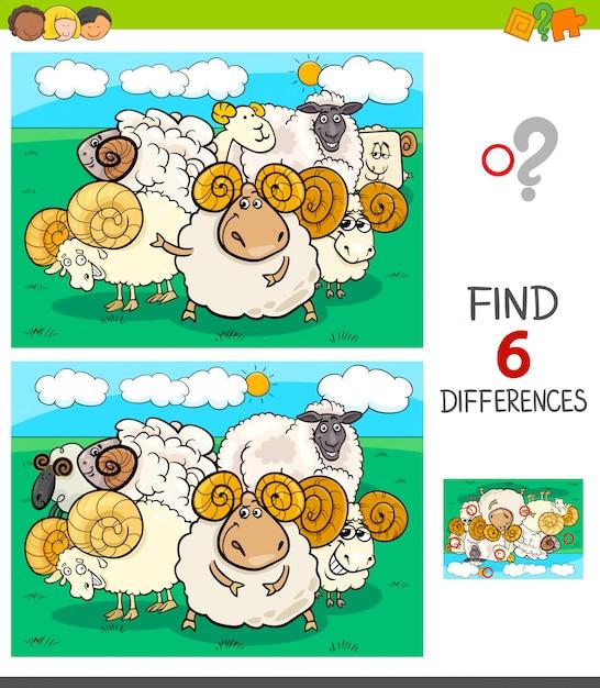 Jeu de différences avec des personnages de moutons et de béliers Vecteur Premium