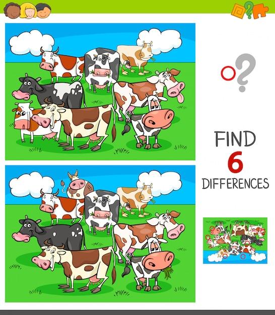 Jeu de différences avec des personnages de vaches Vecteur Premium