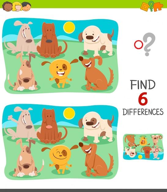Jeu de différences pour les enfants avec des chiens heureux Vecteur Premium