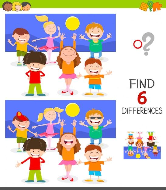 Jeu de différences pour les enfants avec happy kids group Vecteur Premium