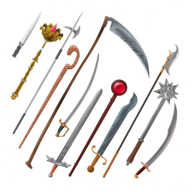Jeu de différentes armes vecteur isolé objets Vecteur gratuit