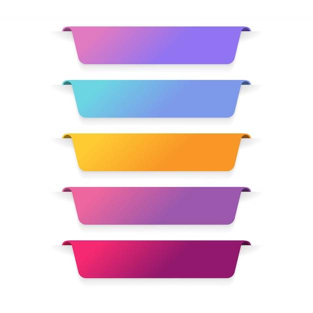 Jeu de disposition d'étiquette de bannière couleur. Vecteur Premium