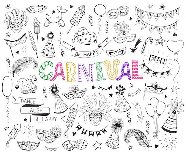 Jeu De Doodle Carnaval Vecteur Premium