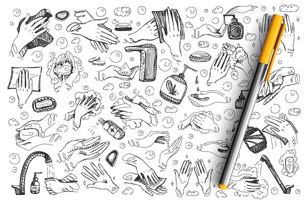 Jeu De Doodle D'hygiène. Mains Dessinées à La Main à L'aide D'un Spray De Gel De Lavage Antiseptique Désinfectant Pour Coronavirus Vecteur Premium