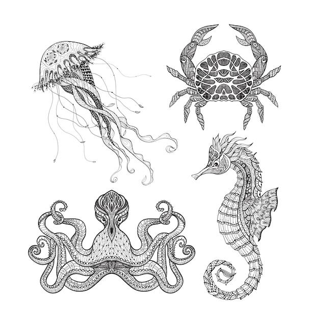 Jeu de doodle marin Vecteur gratuit